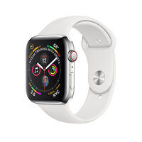 Apple Watch Series 4 (GPS+Cellular) 44mm Stainless Steel Case With White Sport Band (MTV22)