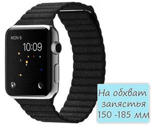 Apple Watch 42mm Stainless Steel Leather Loop Black (150 -185mm)(MJYN2)