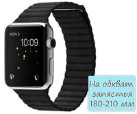 Apple Watch 42mm Stainless Steel Leather Loop Black (180-210mm)(MJYP2)