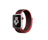 Apple Watch Nike+ Series 3 (GPS + Cellular) 38mm Silver Aluminum w. Bright Crimson/Black Sport L. (MQL72)
