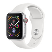 Apple Watch Series 4 (GPS+Cellular) 40mm Silver Aluminum w. White Sport Band (MTUD2)