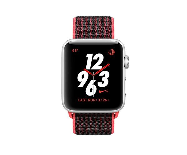 Apple Watch Nike+ Series 3 (GPS + Cellular) 38mm Silver Aluminum w. Bright Crimson/Black Sport L. (MQL72)