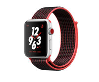 Apple Watch Nike+ Series 3 (GPS + Cellular) 42mm Silver w. Bright Crimson/Black Sport L. (MQLE2)