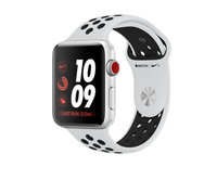 Apple Watch Nike+ Series 3 (GPS + Cellular) 42mm Silver Aluminum w. Pure Platinum/Black Sport B. (MQLC2)
