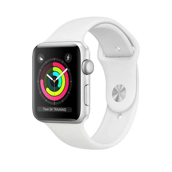 AppleWatch Series3 (GPS) 38mm Silver Aluminium Case with White Sport Band (MTEY2)