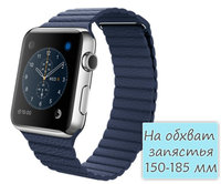 Apple Watch 42mm Stainless Steel Leather Loop Midnight Blue (150-185mm)(MLFC2)