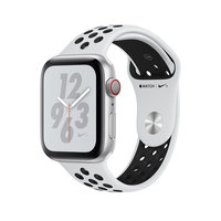 Apple Watch Series 4 Nike+ (GPS + Cellular) 44mm Silver Aluminum w. Pure Platinum/Black Nike Sport (MTXC2)