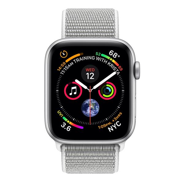 Apple Watch Series 4 (GPS) 44mm Silver Aluminum w. Seashell Sport Loop (MU6C2)
