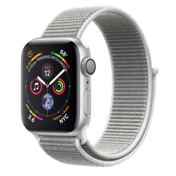 Apple Watch Series 4 (GPS) 44mm Silver Aluminum w. Seashell Sport Loop (MU6C2)