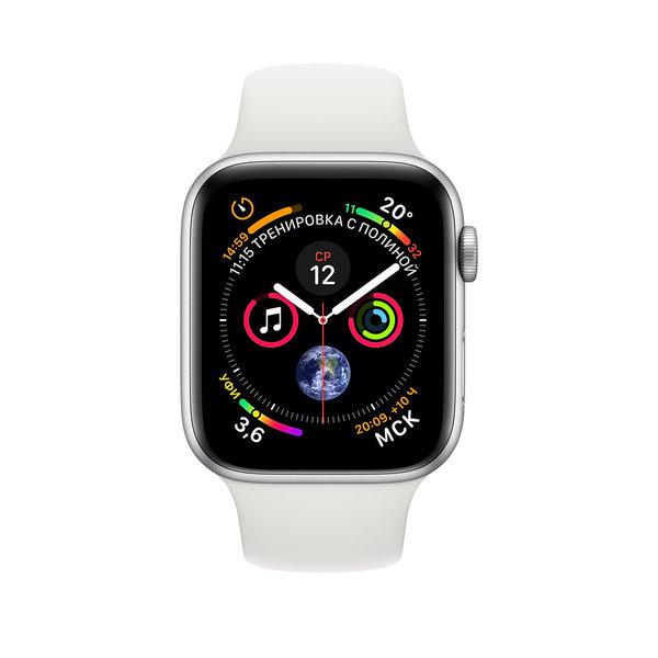 Apple Watch Series 4 (GPS) 40mm Silver Aluminum w. White Sport Band (MU642)