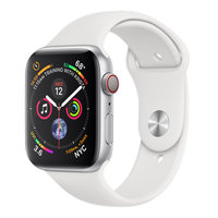 Apple Watch Series 4 (GPS+Cellular) 44mm Silver Aluminum w. White Sport Band (MTUU2)