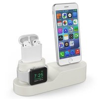 Силиконовая подставка AHASTYLE Silicone Stand 3 in 1 for Apple Watch, AirPods and iPhone - Beige (AHA-01280-BGE)