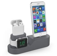 Силиконовая подставка AHASTYLE Silicone Stand 3 in 1 for Apple Watch, AirPods and iPhone - Gray (AHA-01280-GRY)
