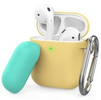 Чехол с карабином для Apple AirPods AHASTYLE Two Color Silicone Case with Carabiner - Yellow/Mint Green (AHA-01460-YYM)