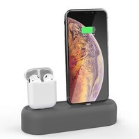 Силиконовая подставка AHASTYLE Silicone Stand 2 in 1 for Apple AirPods and iPhone - Gray (AHA-01550-GRY)