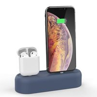 Силиконовая подставка AHASTYLE Silicone Stand 2 in 1 for Apple AirPods and iPhone - Navy Blue (AHA-01550-NBL)