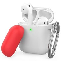 Чехол с карабином для Apple AirPods AHASTYLE Two Color Silicone Case with Carabiner - White/Red (AHA-01460-WWR)