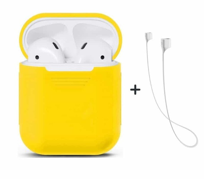 Чехол Airpods Silicon case+straps green (in box) CASE_AIRPODS_YELLOW