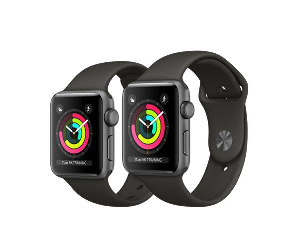 Apple Watch Series 3 (GPS) 42mm Space Gray Aluminum w. Gray Sport B. - Space Gray (MR362)