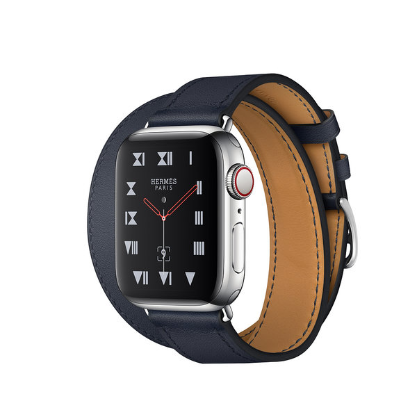 Apple Watch Hermes Series 4 GPS + LTE 40mm Stainless Steel Case with Bleu Indigo Swift Leather