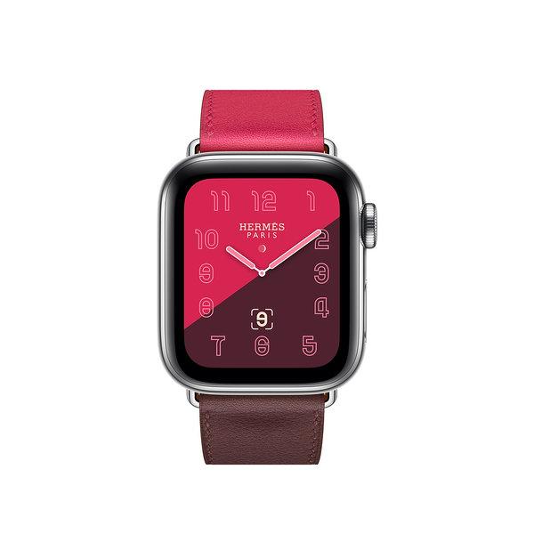 Apple Watch Hermes Series 4 GPS + LTE 40mm Steel c. w. Bordeaux/Rose/Swift Single Tour (MU6N2)