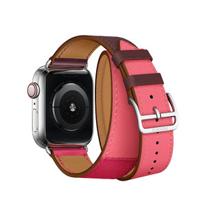Apple Watch Hermes Series 4 GPS + LTE 40mm Steel w. Bordeaux/Rose Extreme/Rose Azalee Leather (MU702