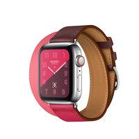 Apple Watch Hermes Series 4 GPS + LTE 40mm Steel w. Bordeaux/Rose Extreme/Rose Azalee Leather (MU702