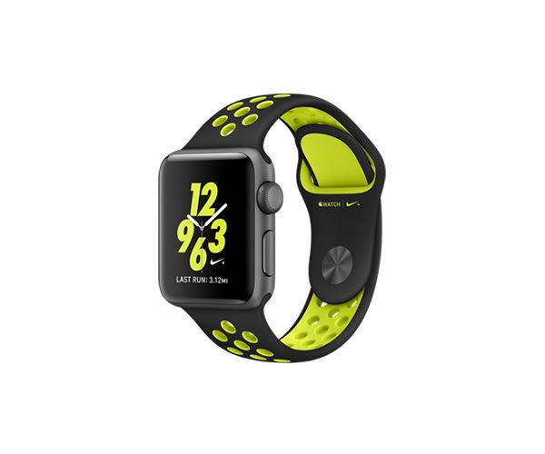 Apple Watch Nike+ 38mm Space Gray Aluminum Nike Sport Band Black/Volt (130–200mm)(MP082)