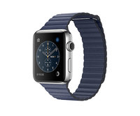 Apple Watch Series 2 42mm Stainless Steel Leather Loop Midnight Blue (180-210mm)(MNPX2)