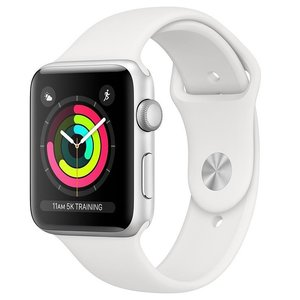 AppleWatch Series3 (GPS) 42mm Silver Aluminium Case with White Sport Band (MTF22)