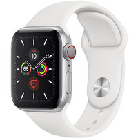 Apple Watch Series 5 LTE 40mm Silver Case w. White Sport Band (MWWN2)