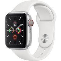 Apple Watch Series 5 LTE 40mm Silver Case w. White Sport Band (MWWN2)