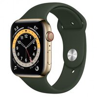 Apple Watch Series 6 LTE 44mm Gold Stainless Steel Case with Cyprus Green Sport Band (M07N3)
