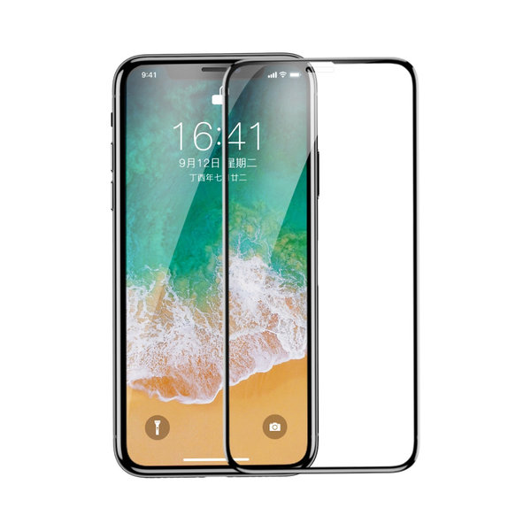 Защитное стекло для iPhone X/Xs - Baseus 0.3mm All-screen Arc-surface Tempered Glass Film - Black (SGAPIPHX-KE01)