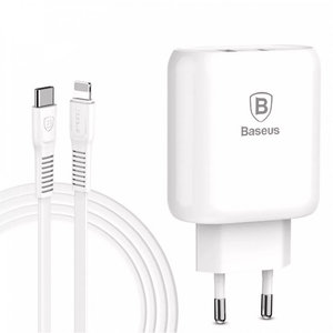 Сетевое з/у Baseus Bojure PD Quick Charger + Cable (Lightning) 32W 1Type-C 1USB White (TZTUN-BJ02)