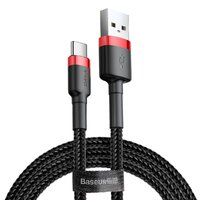 Кабель Baseus Cafule Type-C Cable 3A (1m) Red/Black (CATKLF-B91)