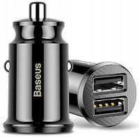 Авто-зарядка Baseus Circular Plastic QC 3.0 30W 2USB black (CCALL-YD01)