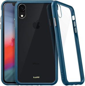 Чехол для iPhone XR (6.1'') LAUT ACCENTS TEMPERED GLASS Blue (LAUT_IP18-M_AC_BL)