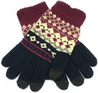 Перчатки для сенсорных экранов Touch iGlove with ornament size (L) - dark blue/red