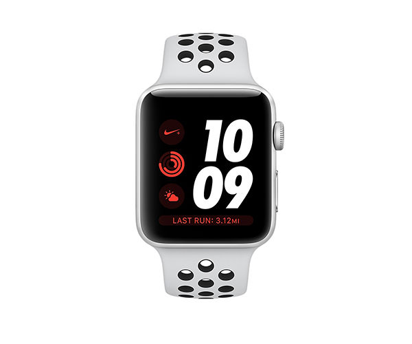 Apple Watch Nike+ Series 3 (GPS) 42mm Silver Aluminum w. Pure Platinum/Black Sport B. (MQL32)