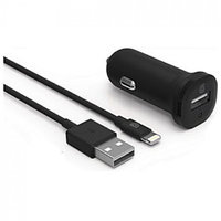 Автомобильное зарядное устройство Griffin Single Port 2.4A Car Charger with Lightning Cable 1m - Black (GP-013-BLK)