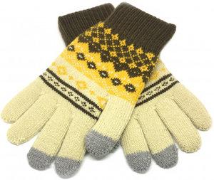 Перчатки для сенсорных экранов Touch iGlove with ornament size (M) - beige/brown