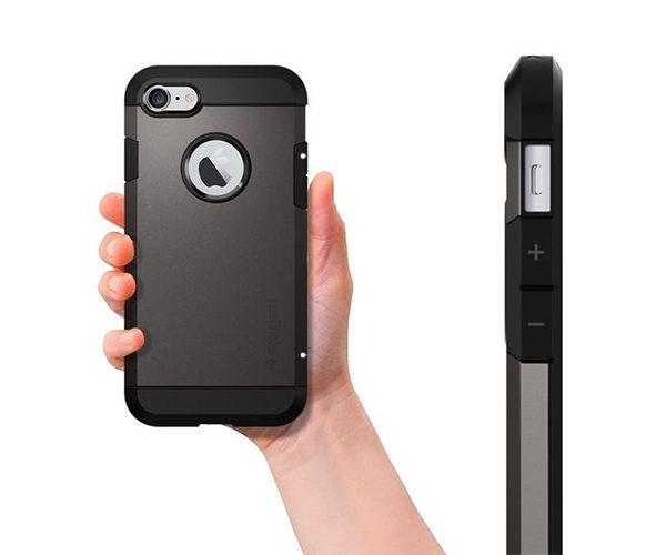 Чехол-накладка для  iPhone 7/8/SE - Spigen Tough Armor - Gun Metal (SGP-042CS20489)