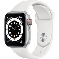 Apple Watch Series 6 LTE 40mm Silver Aluminum Case with White Sport Band (M02N3)
