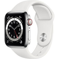 Apple Watch Series 6 LTE 40mm Silver Stainless Steel Case with White Sport Band (M02U3)