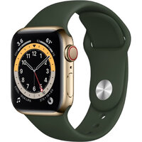 Apple Watch Series 6 LTE 40mm Gold Stainless Steel Case with Cyprus Green Sport Band (M06V3 / M02W3)