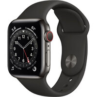 Apple Watch Series 6 LTE 40mm Graphite Stainless Steel Case with Black Sport Band (M02Y3)