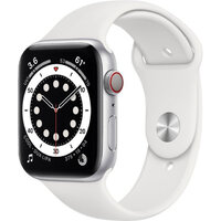 Apple Watch Series 6 LTE 44mm Silver Aluminum Case with White Sport Band (M07F3)