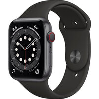 Apple Watch Series 6 LTE 44mm Space Gray Aluminum Case with Black Sport Band (M07H3)