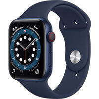 Apple Watch Series 6 LTE 44mm Blue Aluminum Case with Deep Navy Sport Band (M07J3)